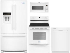 "4-Piece White Kitchen Package with MFI2570FEW 36"" French Door Refrigerator, MER6600FW 30"" Electric Range, MDB8959SFH 24"" Fully Integrated Dishwasher and MMV1174FW 30"" Over-the-Range Microwave"