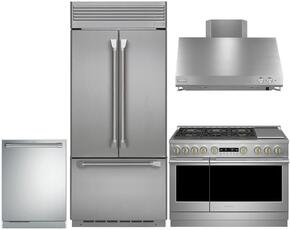 "4-Piece Professional Stainless Steel Kitchen Package with ZIPP360NHSS 36"" French Door Refrigerator, ZGP366NRSS 36"" Natural Gas Range (6 Burners), ZV36SSJSS 36"" Range Hood and ZDT915SPJSS 24"" Fully Integrated Dishwasher"