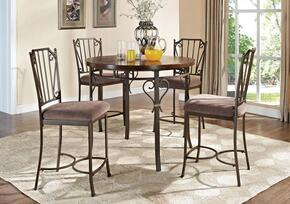 Barry 70690T4C 5 PC Bar Table Set with Counter Height Table + 4 Chairs in Walnut Finish
