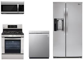 "4 Piece Kitchen package With LRG3081ST 30"" Gas Range, LMV1683ST Over The Range Microwave Oven, LSXS26326S 36"" Side By Side Refrigerator and LDF5545ST 24"" Built In Dishwasher In Stainless Steel"