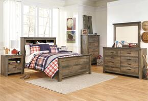 Trinell Full Bedroom Set with Bookcase Bed, Dresser, Mirror, 2 Nightstands and Chest in Brown