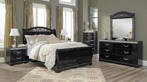 Constellations Queen Bedroom Set with Sleigh Bed, Dresser, Mirror, 2 Nightstands and Chest in Black