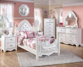 Woodard Collection Twin Bedroom Set with Poster Bed, Dresser, French Mirror, 2 Nightstands and Chest in White