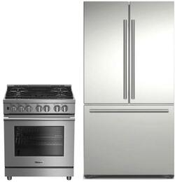 "2 Piece Kitchen Package With BDFP34550SS 30"" Slide-in Gas Range and BRFD2230SS 36"" French Door Refrigerator In Stainless Steel"