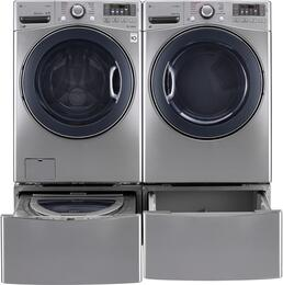 "Graphite Steel Front Load Laundry Pair with WM3770HVA 27"" Washer, DLGX3571V 27"" Gas Dryer, WDP4V 27"" Pedestal, and WD100CV 27"" Sidekick Pedestal Washer"