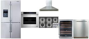 "Dacor 6 Piece Kitchen Package With DYCT365GWNG 36"" Gas Cooktop, DYF42BSIWS 42"" Refrigerator, RNO230S 30"" Wall Oven, RNF242WCL 24"" Wine Cooler, DHW361 36"" Range Hood, RDW24S 24"" Built-In Dishwasher and ARDWP24H Pro Handle"