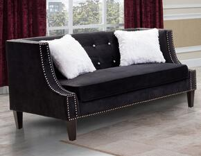 Cosmos Furniture IMANILOVESEATBLACKVELVET