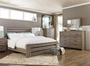 Zelen King Bedroom Set with Poster Bed, Dresser, Mirror and Chest in Warm Grey