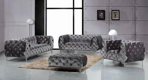 Mercer Collection 646-GRY-S-L-C-O 4 Piece Living Room Set with Sofa + Loveseat + Chair and Ottoman in Grey