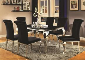 Carone Collection 705071SET 7 PC Dining Room Set with Dining Room Table + 6 Side Chairs in Black Color