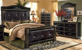 Coal Creek 3-Piece Bedroom Set with King Upholstered Mansion Bed, Dresser and Mirror in Dark Brown