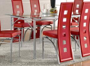 101681SET83 Los Feliz Contemporary Dining 5 Piece Set with Table + Four Chairs in Red