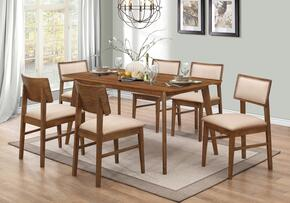 Sasha Collection 107251TC 7 PC Dining Room Set with Dining Table + 6 Side Chairs in Walnut Finish