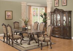 Andrea 103111SETB 8 PC Dining Room Set with Table + 4 Side Chairs + 2 Arm Chairs + China Cabinet in Brown Cherry Finish