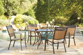 Carmadelia Collection P376RDT4C 5-Piece Outdoor Patio Set with Round Dining Table and 4 Side Chairs in Tan and Brown