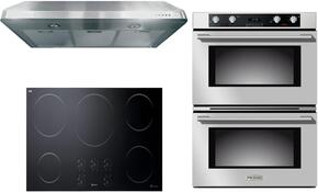 "3-Piece Stainless Steel Kitchen Package with VECTI365 36"" Induction Smoothtop, VEBIEM3030DSS 30"" Electric Double Wall Oven, and VEHOOD3610 36"" Under Cabinet Ducted Hood"