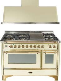 "2-Piece Antique White Kitchen Package with UM120FDMPA 48"" Freestanding Dual Fuel Range (Brass Trim, 6 Burners, Griddle) and UAM120A 48"" Wall Mount Range Hood"