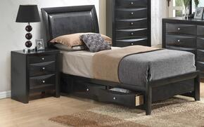 G1500DDTSB2N 2 Piece Set including Twin Size Bed and Nightstand  in Black
