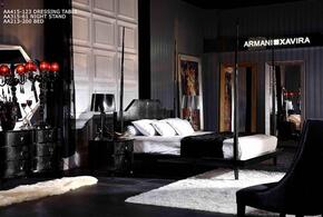 AW213-200K5PCSET Armani Xavira Gothic 5 Piece Bedroom Set With King Size Four-Poster Bed + 2 Nightstands + Dresser + Mirror: Black