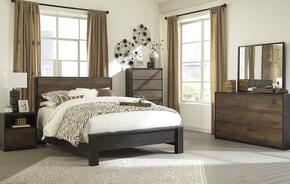 Windlore Queen Bedroom Set with Panel Bed, Dresser, Mirror, 2 Nightstands and Chest in Dark Brown