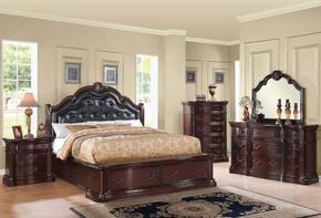 Veradisia 20622CK5PC Bedroom Set with California King Size Bed + Dresser + Mirror + Chest + Nightstand in Dark Cherry Finish