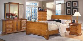 1133QSBDMCN Honey Creek 5 Piece Bedroom Set with Queen Sleigh Bed, Dresser, Mirror, Nightstand and Chest, in Caramel