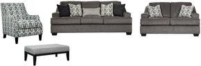 Gilmer Collection 65603SLACO 4-Piece Living Room Set with Sofa, Loveseat, Accent Chair and Ottoman in Gunmetal
