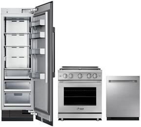 "3-Piece Stainless Steel Kitchen Package with DRR24980RAP 24"" All Refrigerator, RNRP30GSNG 30"" Slide-in Gas Range, and DDW24M999US 24"" Fully Integrated Dishwasher"