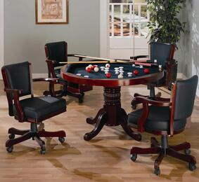 Mitchell 100201TC 5 PC Game Room Set with Game Table + 4 Arm Game Chairs in Merlot Color