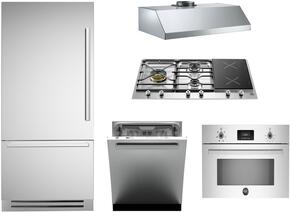 "5-Piece Stainless Steel Kitchen Package with REF36PIXL 36"" Bottom Mount Refrigerator, PM363I0X 36"" Gas Cooktop, PROSO30X 30"" Electric Single Wall Oven, KU36PRO1XV 36"" Wall Mount Hood, and DW24XV 24"" Fully Integrated Dishwasher"