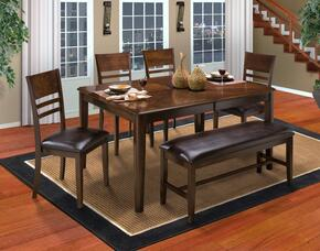 4015011HCCB Latitudes 6 Piece Dining Room Set with Cut Corner Table, 4 Horizontal Slat Chairs and 1 Bench, in Chestnut