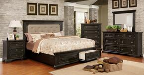 Roisin Collection CM7578EKBEDSET 5 PC Bedroom Set with Eastern King Size Platform Bed + Dresser + Mirror + Chest + Nightstand in Wire-Brushed Black Finish