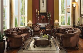 Versailles Collection 520807PC 7 PC Living Room Set with 2 Sofas + 2 Accent Chairs + 2 End Tables + Coffee Table in Cherry Oak Finish