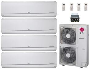 LMU480HVKIT61 Quad Zone Mini Split Air Conditioner System with 44000 BTU Cooling Capacity, 4 Indoor Units, Outdoor Unit, and 1 Distribution Box