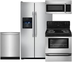 "4-Piece Stainless Steel Kitchen Package with FFSS2614QS 36"" Side by Side Refrigerator, FFEF3015LS 30"" Electric Range, FFID2426TS 24"" Fully Integrated Dishwasher and FFMV164LS 30"" Over-the-Range Microwave"