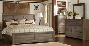 Juararo Queen Bedroom Set with Panel Bed, Dresser and Mirror in Dark Brown