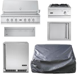 "6-Piece Stainless Steel Outdoor Package with 54"" Natural Gas Grill, Side Burner, Access Door, Storage Drawer, Outdoor Refrigerator, and Grill Cover"