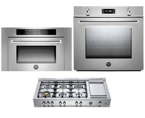 "Professional 3-Piece Stainless Steel Kitchen Package with F30PROXE 30"" Single Electric Wall Oven, CB486G00X 48"" Gas Rangetop and SO24PROX Built In Microwave"
