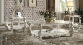 821233PC Versailles 3 PC Living Room Table Set with Coffee Table and 2 End Tables in Bone White Silver Contrast Finish