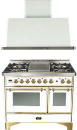 "2-Piece True White Kitchen Package with UMD100FDMPB 40"" Freestanding Dual Fuel Range (Brass Trim, 4 Burners, Griddle)   and UAM100B 40"" Wall Mount Range Hood"