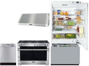 "4-Piece Kitchen Package with KF1803SF 30"" Bottom Freezer Refrigerator, HR1955DFGR 48"" Dual Fuel Natural Range, DAR1250 48"" Wall Mount Hood and G4228SCUSS 24"" Built in Dishwasher in Stainless Steel"