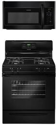 """2-Piece Black Kitchen Package with FFGF3023LB 30"""" Freestanding Gas Range and FFMV162LB 30"""" Over-the-Range Microwave"""