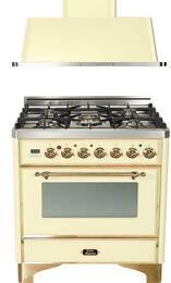 """2-Piece Antique White Package with UM76DMPA 30"""" Freestanding Dual Fuel Range (Brass Trim, 5 Burners, Timer) and UAM76A 30"""" Wall Mount Range Hood"""