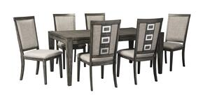 Chadoni D624ET6C 7-Piece Dining Room Set with Rectangular Extension Dining Room Table and 6 Dining Room Side Chairs in Grey