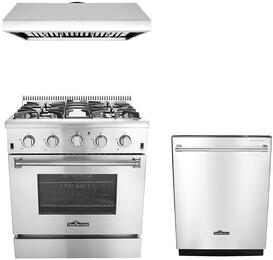 """3-Piece Stainless Steel Kitchen Package with HRD4803U 48"""" Dual Fuel Freestanding Range, HRH3006U 48"""" Under Cabinet Range Hood, and HDW2401SS 24"""""""