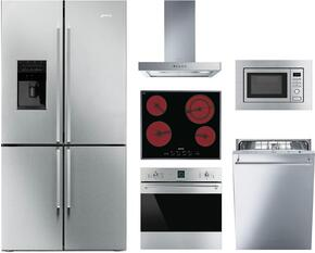 "6-Piece Kitchen Package with FQ75XPEDU 36"" French Door Refrigerator, S2641TCU 24"" Electric Cooktop, SF399XU 30"" Electric Single Oven, MI20XU 30"" Microwave, KSM24XU24"" Hood and STU8649X Built In Dishwasher in Stainless Steel"