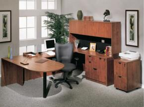 KIT1N147C Bullet Desk Complete with Bridge, Credenza, Hutch, Lateral File and Mobile Pedestal File in Cherry Finish