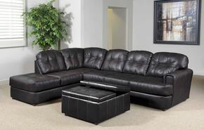 662160SECO Jade 2 PC Sectional Sofa and Chaise + Ottoman with 1.8 Dacron Wrapped Cushions, Solid Kiln Dried Hardwood, Leggett and Platt Sinuous Springs in Eastern Charcoal