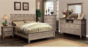 Loxley Collection CM7351LQBDMCN 5-Piece Bedroom Set with Queen Bed, Dresser, Mirror, Chest and Nightstand in Weathered Oak Finish