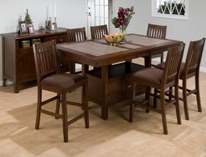 976-72SET7 Caleb Counter Height Dining Table with Butterfly Leaf Extension, Canted Legs, and Pull-Thru Drawer with 6 Barnes Stools with Chocolate Microfiber Seat